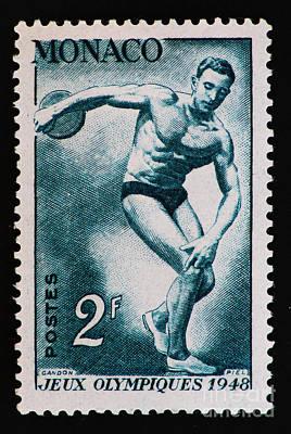 Discus Vintage Postage Stamp Print Art Print by Andy Prendy