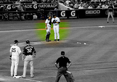 Discussing Strategy Pettitte And Posada Highlighted Art Print