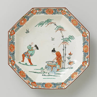 Bamboo Drawing - Dish, Octagonal, With Polychrome Decoration With Man by Quint Lox