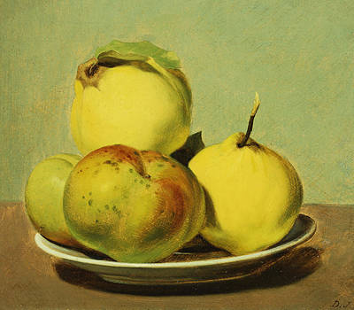 Quince Painting - Dish Of Apples And Quinces by David Johnson