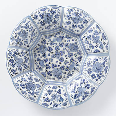 Dish With Edge Of Blue Painted Faience, Anonymous Print by Quint Lox