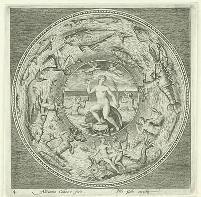 Dish With Sea Goddess Galatea Adriaen Collaert Art Print