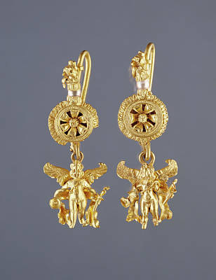 Gold Earrings Drawing - Disk Pendant Earrings With A Figure Of Eros Unknown by Litz Collection