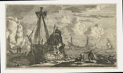 Dismantled Sailing Ship, Reinier Nooms Art Print