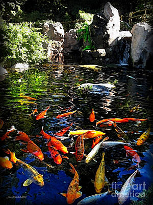 Photograph - Disney Epcot Japanese Koi Pond by Joan  Minchak