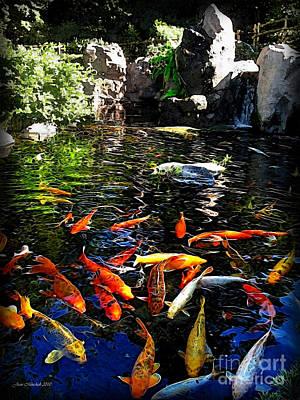 Disney Epcot Japanese Koi Pond Art Print by Joan  Minchak