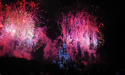 Photograph - Disney Fireworks In Pink by Robert  Moss