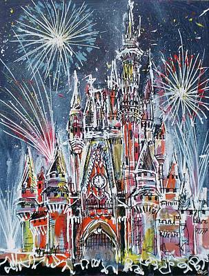 Fireworks Painting - Disney Magic by Laura Hol Art