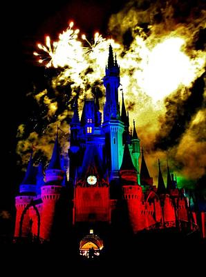 Disney Night Fireworks Art Print by Benjamin Yeager