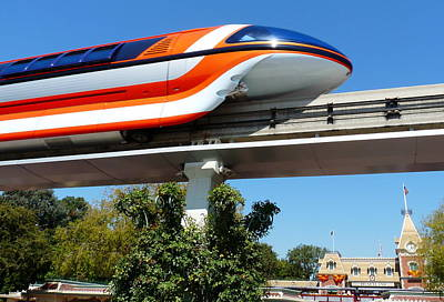 Photograph - Disneyland Monorail  by Jeff Lowe