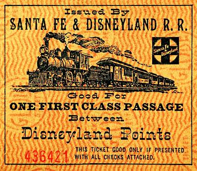 Photograph - Disneyland Rail Ticket by Benjamin Yeager