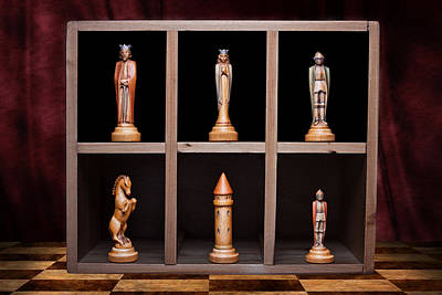 Hand Carved Photograph - Display Of Strength Still Life Chess by Tom Mc Nemar