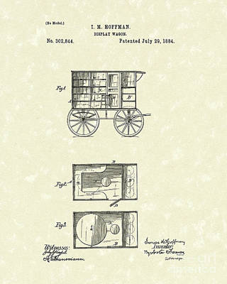 Wheel Drawing - Display Wagon 1884 Patent Art by Prior Art Design