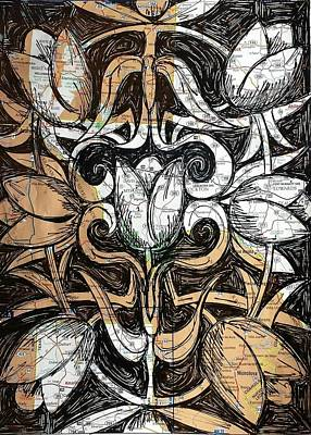 Tulip Drawing - Disrupting Samsara Seven Tulips by John Parish