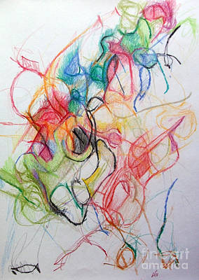 Inner Search Drawing - Dissapating Worry 1 by David Baruch Wolk