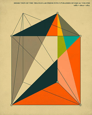 Dissection Of The Triangular Prism Into 3 Pyramids Of Equal Volume Print by Jazzberry Blue