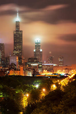 Chicago Skyline Photograph - Distant Lights - Chicago Illinois Skyline by Gregory Ballos