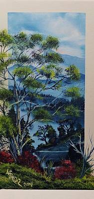 Wet On Wet Painting - Distant Mountains Lake by Alfred Stringer