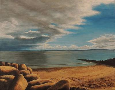 Painting - Distant Rain On Galway Bay by David Swint