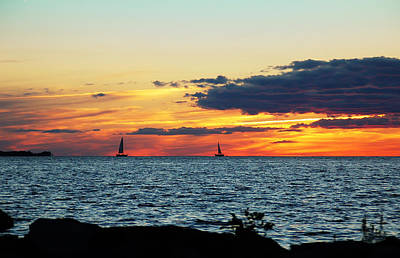 Photograph - Distant Sailboats by Aimee L Maher ALM GALLERY