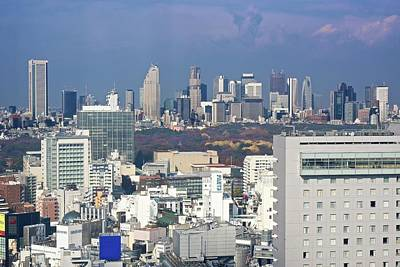 Financial District Photograph - Distant Skyscrapers In The Shinjuku by Jake Jung