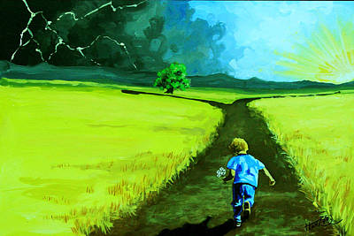 Fork In The Road Painting - Distant Thunder Nfs by Jack Hanzer Susco