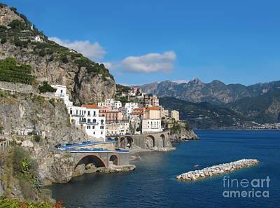 Distant View Of Atrani On Amalfi Coast Art Print by Kiril Stanchev