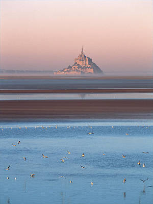 Of Birds Photograph - Distant View Of Mont Saint-michel by Panoramic Images