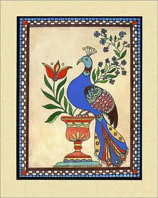 Fraktur Painting - Distelfink And Vase by Joan Shaver