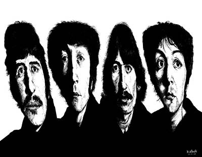 Mccartney Drawing - Distorted Beatles by Kenneth Stock