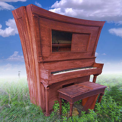 Surrealism Royalty-Free and Rights-Managed Images - Distorted Upright Piano 2 by Mike McGlothlen