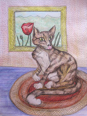 Distracted Cat Art Print by Cherie Sexsmith