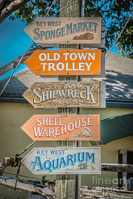 Mallory Square Key West Wall Art - Photograph - Distressed Key West Sign Post - Hdr Style by Ian Monk
