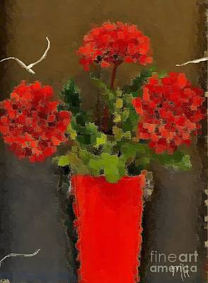Distressed Red Flowers Pictures Art Print by Marsha Heiken