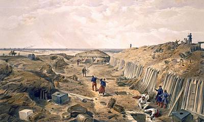 Flagstaff Wall Art - Drawing - Ditch Of The Bastion Du Mat, Plate by William 'Crimea' Simpson