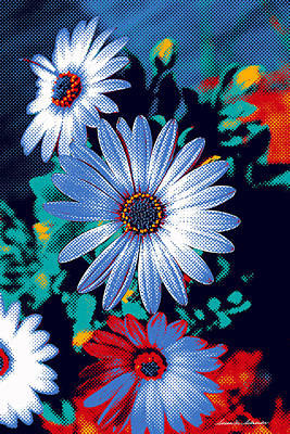 Painting - Dithered Daisies by Susan Schroeder