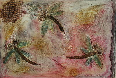 Printmaking Mixed Media - Rustic Dragonflies Pinks by Lyndsey Hatchwell