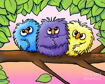 Kiniart Digital Art - Ditzy Chicks by Kim Niles