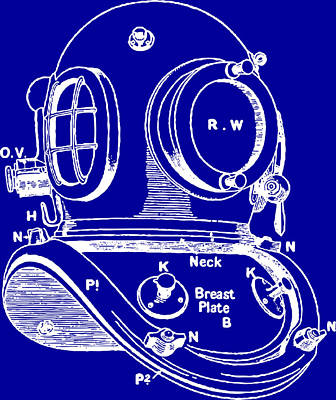 Scuba Diving Drawing - Dive Helmet Blueprint by