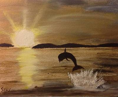 Sun Rays Painting - Dive Into The Sunset by Soumya J