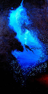 Christmas Trees - Diver in a cave with glass fish by Mackenzie Moulton