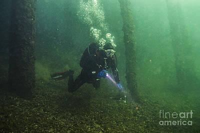 Photograph - Diver Welland Train Bridge by JT Lewis