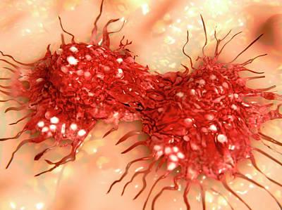 Dividing Cancer Cell Art Print by Juan Gaertner