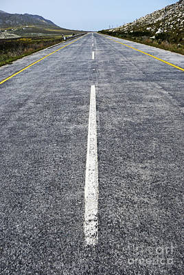 Dividing Line On A Highway Road Art Print by Sami Sarkis