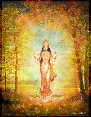 Lakshmi Vision In The Forest  Art Print by Ananda Vdovic