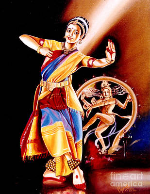 Painting - Divine Dance Of Kuchipudi by Ragunath Venkatraman