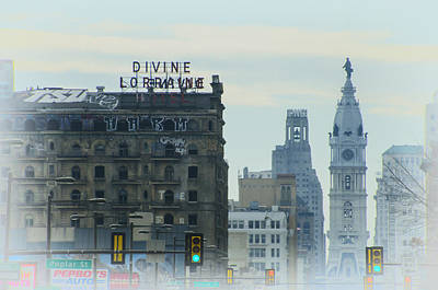 City Hall Digital Art - Divine Lorraine And City Hall - Philadelphia by Bill Cannon