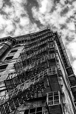 Phillies Digital Art - Divine Lorraine Fire Escape In Black And White by Bill Cannon