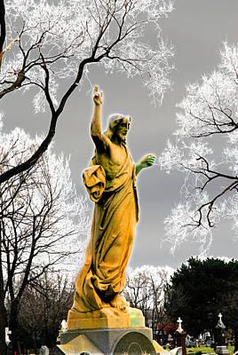 Divine Mercy Florintine Crown Hill Cemetery Chicago Illinois Art Print by John Hanou