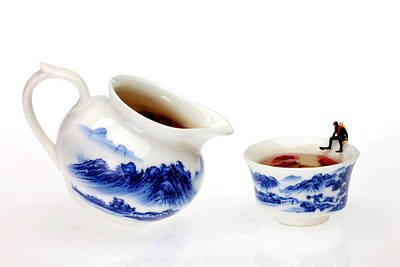 Asian Pop Culture Photograph - Diving Among Blue-and-white China Miniature Art by Paul Ge